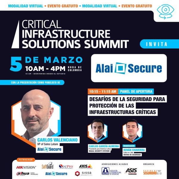 "AlaiSecure - Noticia:  Jornada ""Critical Infraestructure Solutions Summit"""